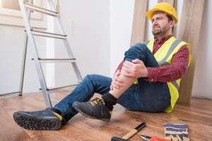 An injured carpenter at work.